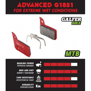 Plaquettes de frein Galfer - Magura GUSTAV M (-2006) - Rouge Advanced Galfer FD246G1851 Magura