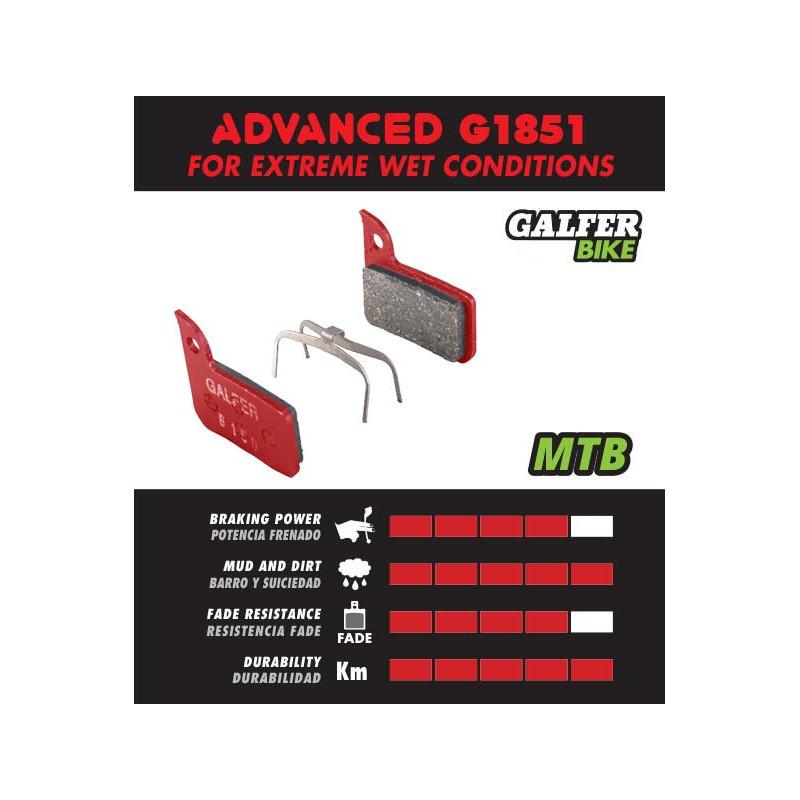 Plaquettes de frein Galfer - Shimano Deore 416/445/446/485/486/515/525/575 C601 Tektro - Rouge Advanced Galfer FD293G1851 Shi...