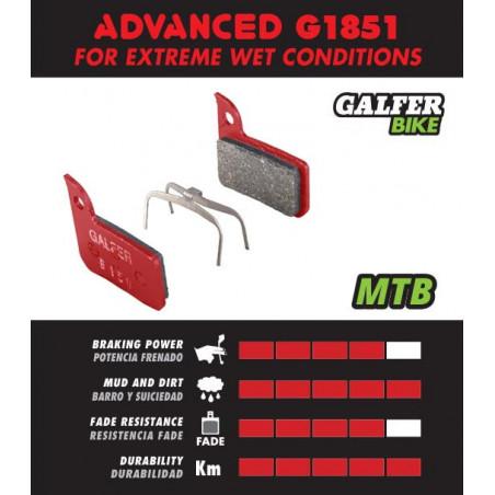 Plaquettes de frein Galfer - Avid X0/Trail/7 Trail/9 Trail - Rouge Advanced Galfer FD459G1851 Sram