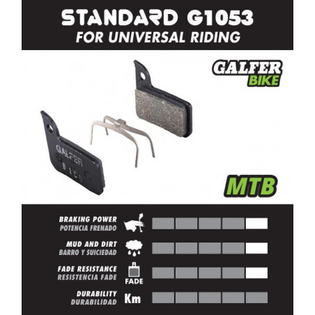 Plaquettes de frein GALFER Shimano XT BR-M965/966/975 / LX BR-M655/765/775 / Saint XT / XTR / Giant - Noir Standard Galfer FD...